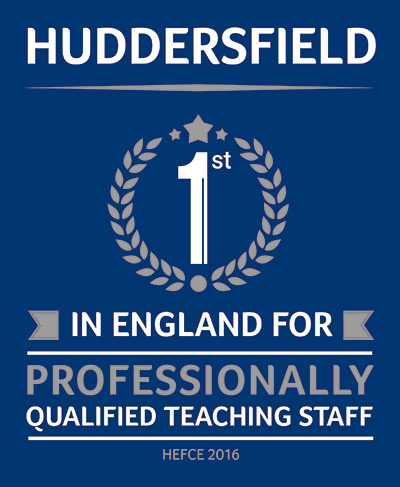 No 1 in England for teaching banner - Huddersfield is first in England for professionally qualified teaching staff